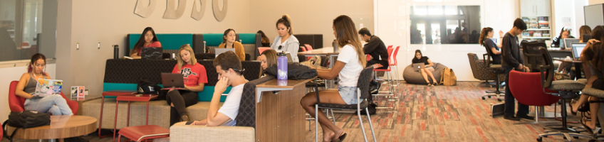 Students studying in the Union.