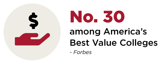 Number 30 among America's Best Value Colleges by Forbes.