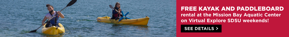 Free Kayak and Paddleboard rental at the Mission Bay Aquatic Center on Virtual Explore Weekends!